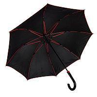"""Зонт-трость """"Back to black"""", полуавтомат, нейлон, черный с красным"""