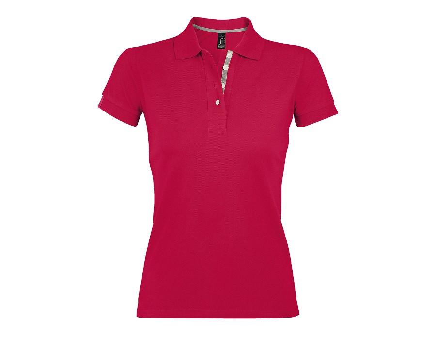 """Поло """"Portland Women"""", красный, серый_S, 100% х/б, 200г/м2"""