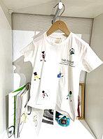 Белая футболка с аппликациями (бисер, камешки, пластик) 00010