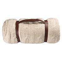 """Плед """"Ирландский""""  дорожный,  с ремнем,  акрил, 130х150 см;  вышивка"""