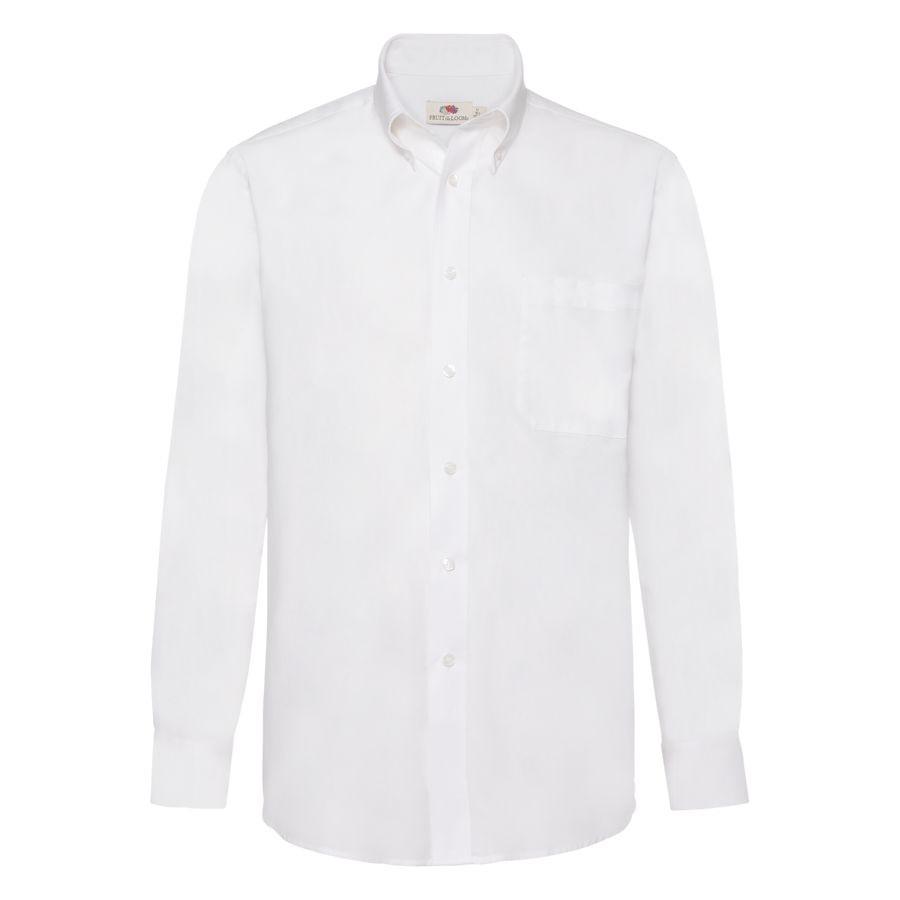 """Рубашка """"Long Sleeve Oxford Shirt"""", белый_M, 70% х/б, 30% п/э, 130 г/м2"""