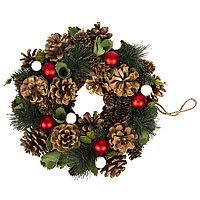 """Новогодний венок """"New Year"""", диаметр 22 см, пластик, дерево, зеленый"""