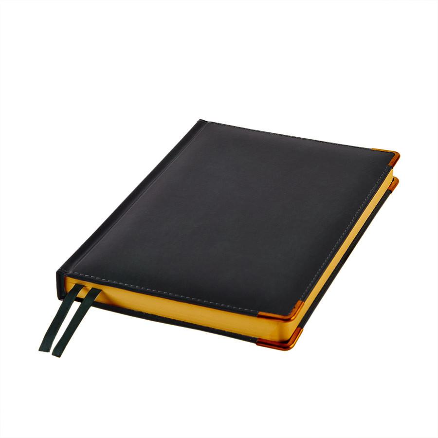 Ежедневник полудатированный Rarity, A5, черный, рециклированная кожа, кремовый блок, подарочная коробка