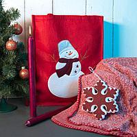 Набор подарочный NEWSPIRIT: сумка, свечи, плед, украшение, красный