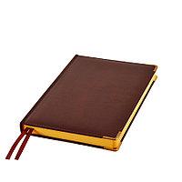 Ежедневник полудатированный Rarity, A5, темно-коричневый, рециклированная кожа, кремовый блок, подарочная