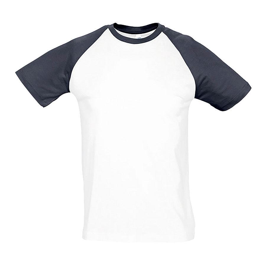 """Футболка """"Funky"""", белый с темно-синим_S, 100% х/б, 150 г/м2"""