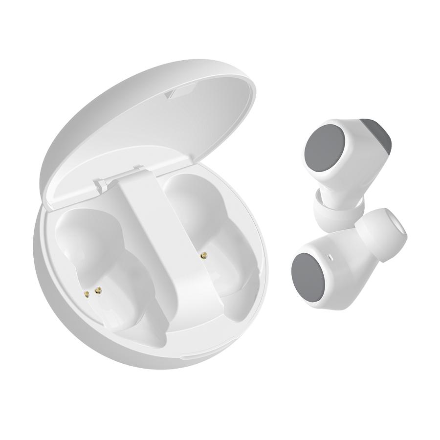 Наушники беспроводные GEOZON SPACE, с зарядным боксом, покрытие soft touch, белые