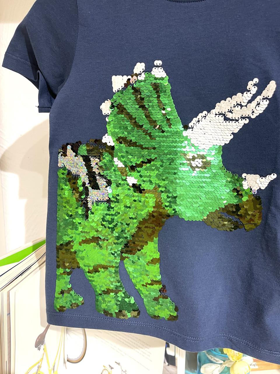 Синяя футболка с пайетками (носорог) 00010