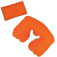 Подушка надувная дорожная в футляре; оранжевый, 43,5х27,5 см; твил