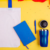 Набор подарочный SWEETFACE: бизнес-блокнот, ручка, термокружка, сумка, синий