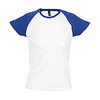 """Футболка """"Milky"""", белый с ярко-синим_XL, 100% х/б, 150 г/м2, фото 1"""