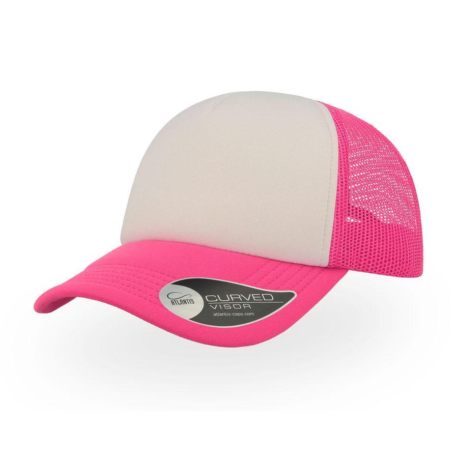 """Бейсболка """"RAPPER"""", 5 клиньев, пластиковая застежка, розовый неон с белым; 100% полиэстер, 80 г/м2"""