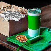 Набор ACTIONLIFE: термокружка, шапка, украшение, зарядное устройство, коробка, светло-зеленый
