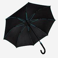 """Зонт-трость """"Back to black"""", полуавтомат, нейлон, черный с голубым"""