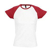 "Футболка ""Milky"", белый с красным_L, 100% х/б, 150 г/м2, фото 1"