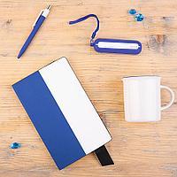 Набор подарочный BESTIAMO: кружка, блокнот, аккумулятор, ручка, коробка со стружкой, белый/синий