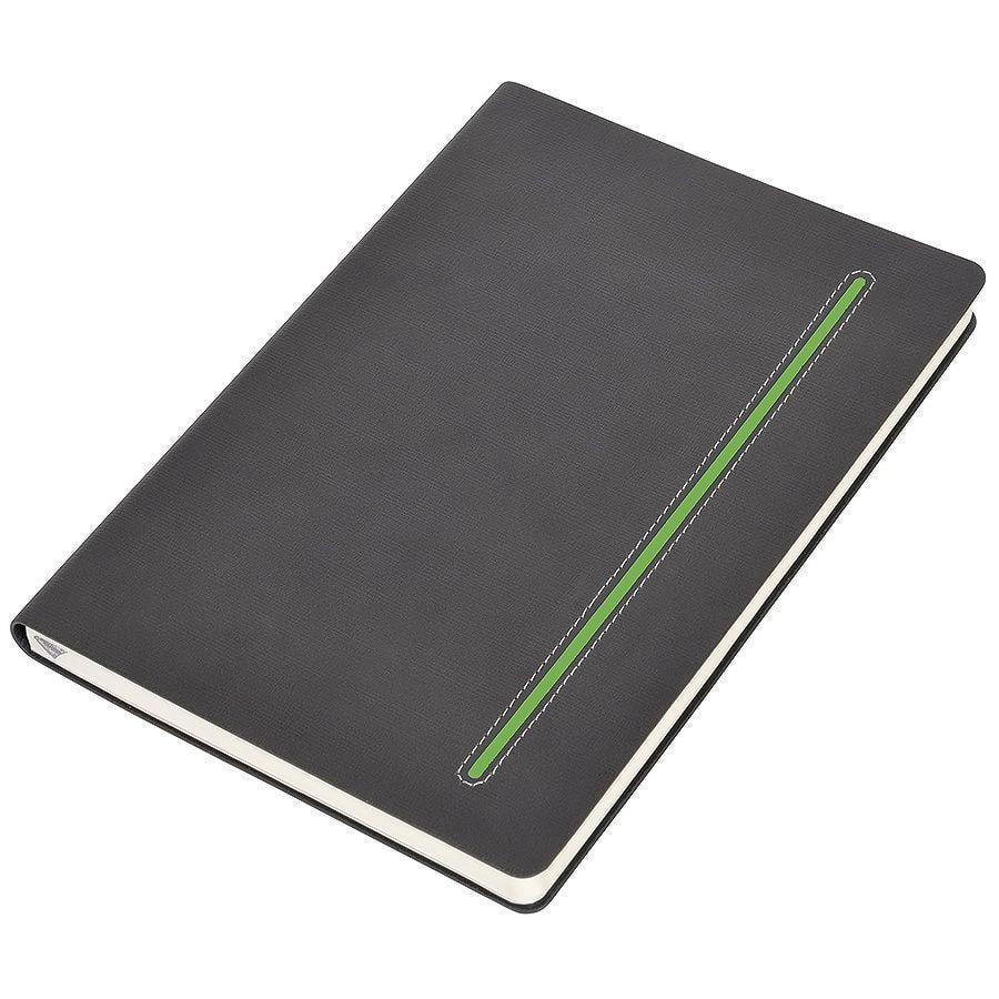 """Бизнес-блокнот А5  """"Elegance"""", серый  с зеленой вставкой, мягкая обложка,  в клетку"""