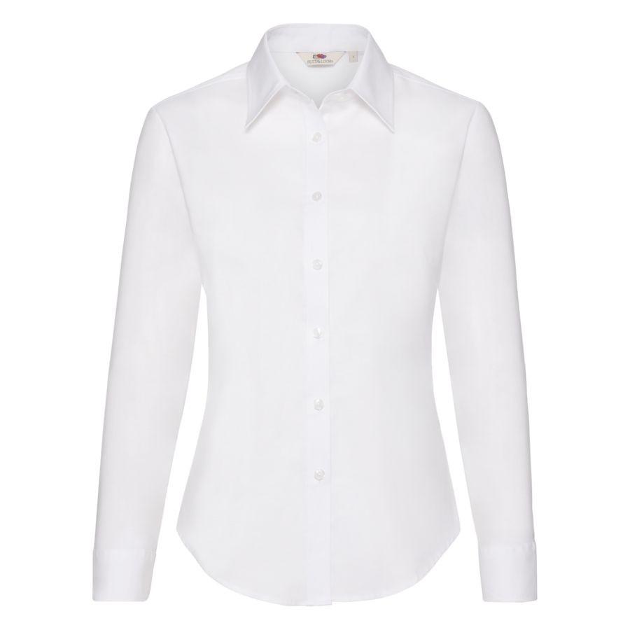 """Рубашка """"Lady-Fit Long Sleeve Oxford Shirt"""", белый_XL, 70% х/б, 30% п/э, 130 г/м2"""