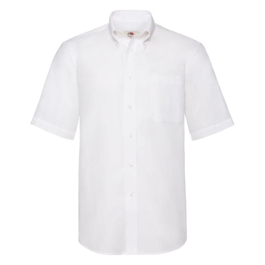 """Рубашка """"Short Sleeve Oxford Shirt"""", белый_M, 70% х/б, 30% п/э, 130 г/м2"""