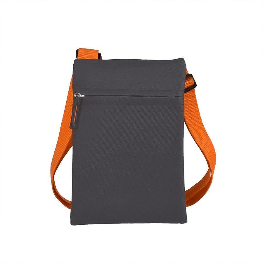 """Сумка для документов """"ACTIVE"""" с карманом на молнии,  серый/оранжевый, 18х24 см"""