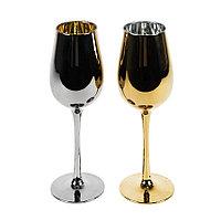 Набор бокалов для вина MOON&SUN (2шт), золотой и серебяный, 22,5х24,8х11,9см, стекло, фото 1