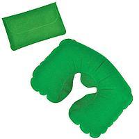 Подушка надувная дорожная в футляре; зеленый, 43,5х27,5 см; твил