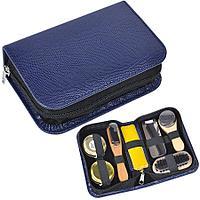 Набор для чистки одежды и обуви в пенале, 7 предметов;  синий, 17,2х5,5х10,5 см; металл, дерево,