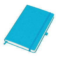 """Бизнес-блокнот """"Justy"""", 130*210 мм, светло-голубой, твердая обложка, резинка 7 мм, блок-линейка"""
