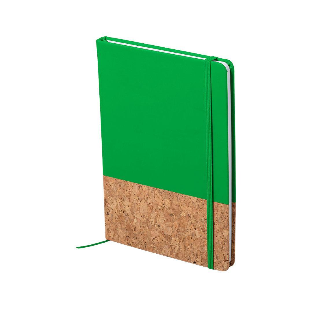 Блокнот BLUSTER, A5, твердый переплет, PU/пробковая ткань, нелинованный, зеленый