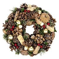 """Новогодний венок """"Christmas"""", диаметр 22 см, пластик, дерево, зеленый с блестками"""