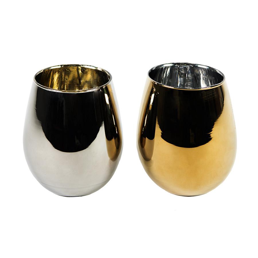 Набор бокалов MOON&SUN (2шт), золотой и серебяный, 22х12,4х11,5см, стекло