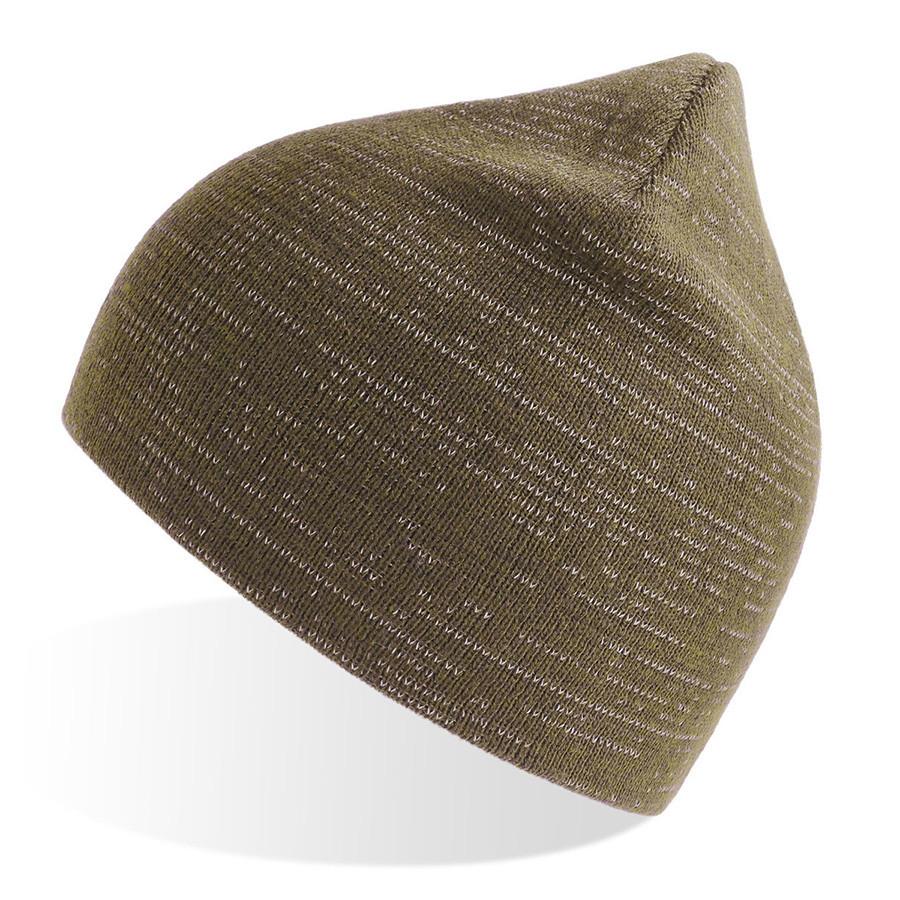 """Шапка вязаная """"SHINE"""" светоотражающая, оливковый, 50% переработанный полиэстер, 50% акрил"""