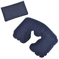 Подушка надувная дорожная в футляре; синий; 43,5х27,5 см; твил