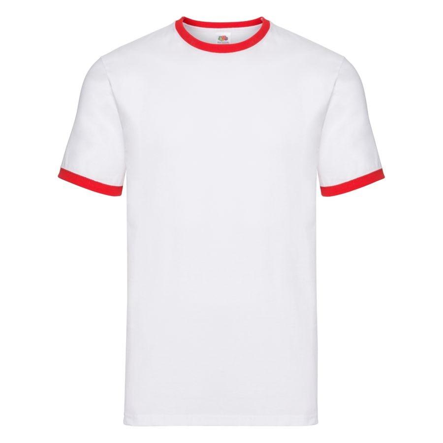 """Футболка """"Ringer T"""", белый с красным_2XL, 100% х/б, 160 г/м2"""