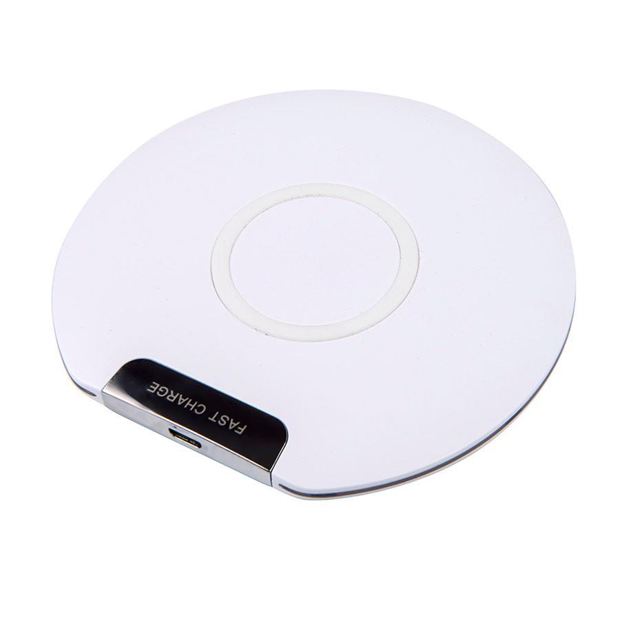 Беспроводное зарядное устройство DISK , белый, D=10,2 см, H=0,6см, пластик