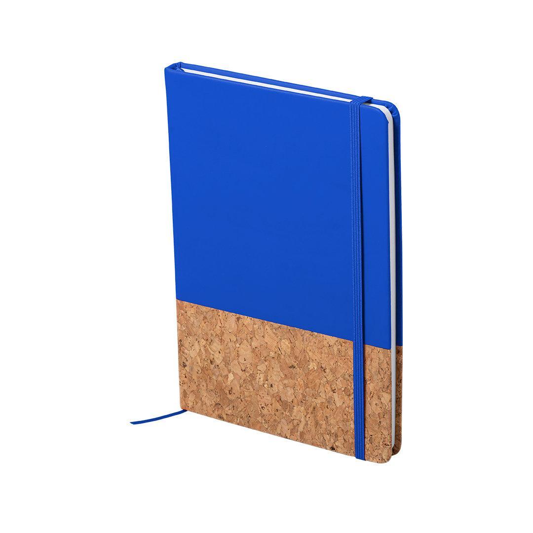 Блокнот BLUSTER, A5, твердый переплет, PU/пробковая ткань, нелинованный, синий