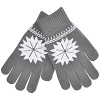 """Перчатки для сенсорных экранов """"СНЕЖИНКА"""",  серый, М, 100% акрил"""