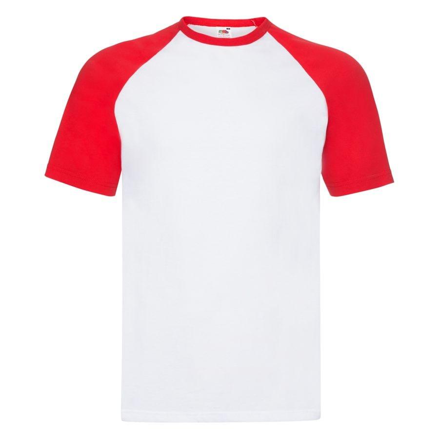 """Футболка """"Short Sleeve Baseball T"""", белый с красным_2XL, 100% х/б, 160 г/м2"""