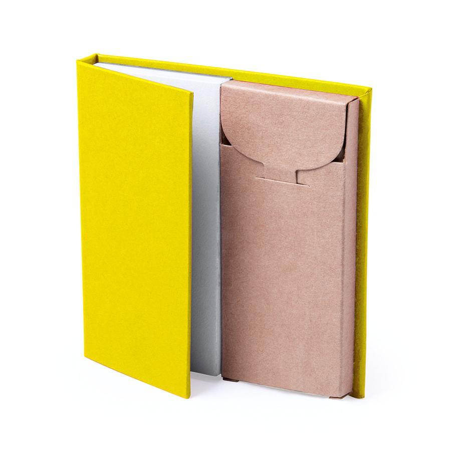 Набор LUMAR: листы для записи (60шт) и цветные карандаши (6шт), желтый, картон, дерево