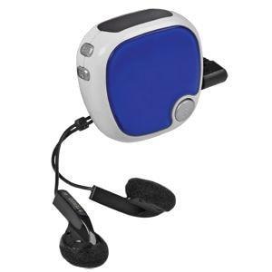 FM-радио c шагомером и наушниками; синий с белым; 4,9х4,9х2,8 см; пластик