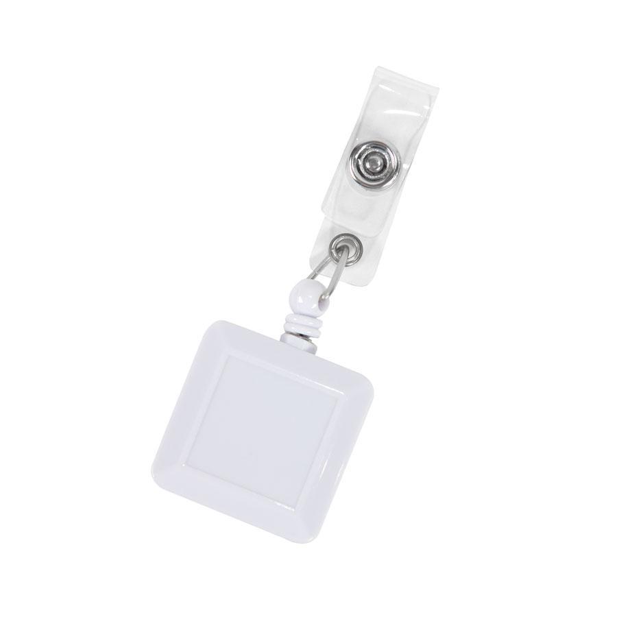 Держатель для бейджа, магнитной карты; белый; 3,2х3,2х0,8 см, длина шнура 90 см; пластик