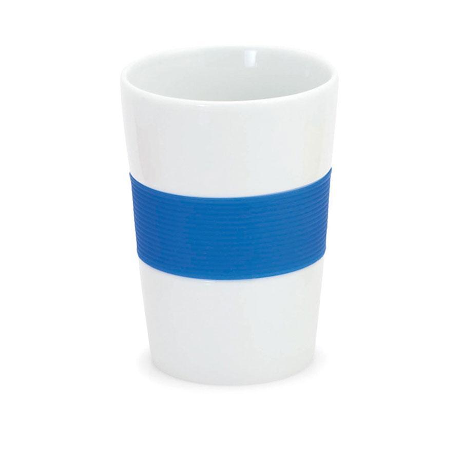 Стакан NELO, белый с синим, 350мл, 11,2х8см, тонкая керамика, силикон