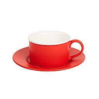 Чайная пара ICE CREAM, красный с белым кантом, 200 мл, фарфор