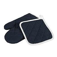 Набор: прихватка и рукавица LESTON, темно-синий, полиэстер, хлопок