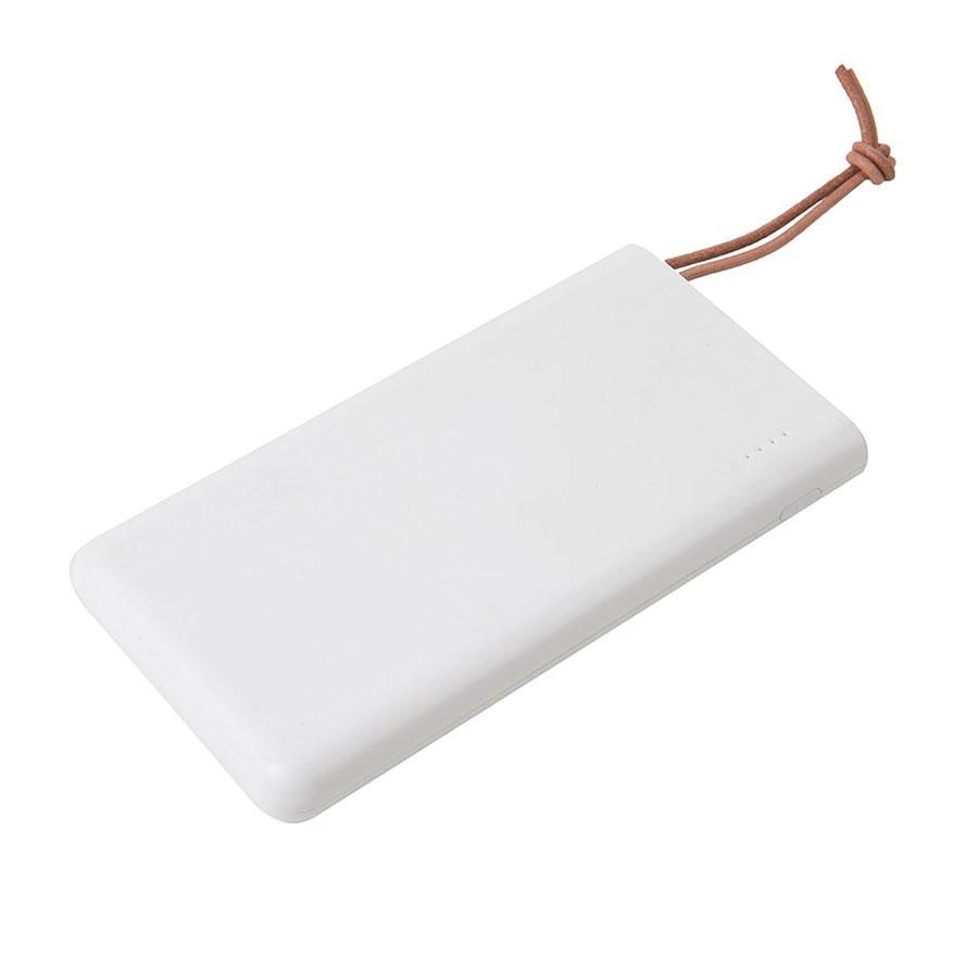 Универсальный аккумулятор STRAP (10000mAh), белый с коричневым, 6,9х13,2х1,5 см, пластик, шт