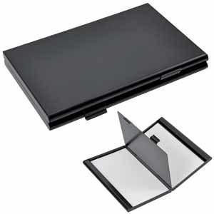 """Визитница двухсторонняя """"Дубль""""; черный матовый; 9,3х6,1х1 см; металл; лазер. гравир., тампопечать"""