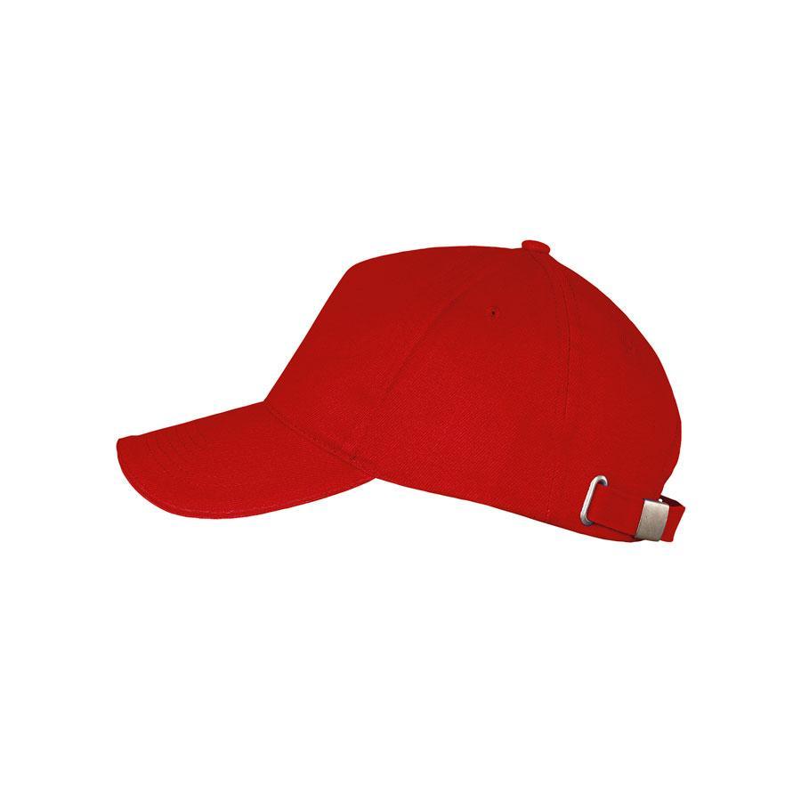 """Бейсболка """"LONG BEACH"""", 5 клиньев, метал. застежка, красный, 100% хлопок, плотность 260 г/м2"""