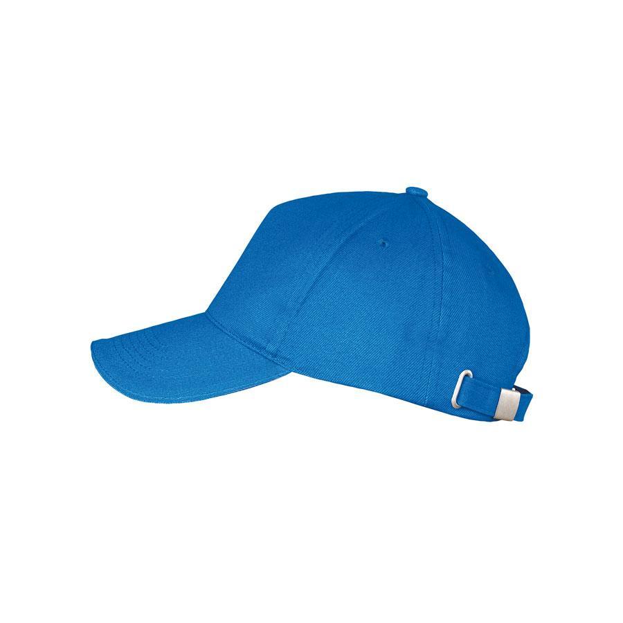 "Бейсболка ""LONG BEACH"", 5 клиньев, метал. застежка, ярко-синий, 100% хлопок, плотность 260 г/м2"