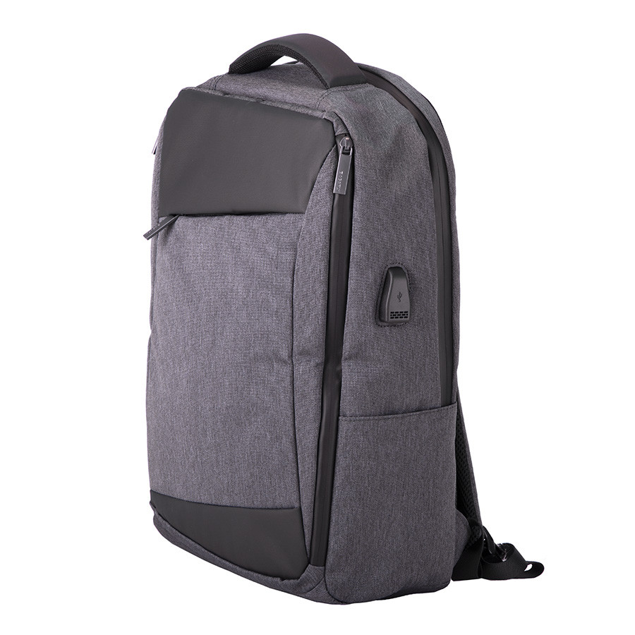 "Рюкзак ""Leif"", темно-серый/черный, 46х32х14 см, осн. ткань:100% полиэстер, подкладка: 100% полиэстер"