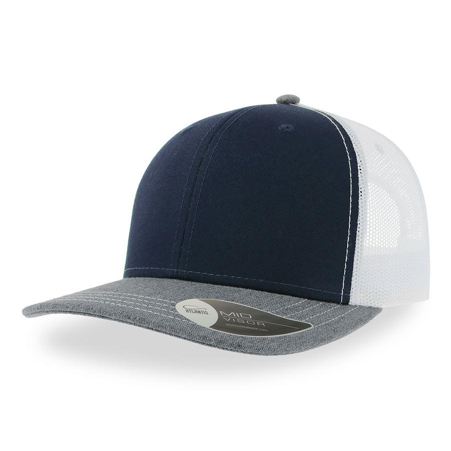 "Бейсболка ""SONIC"", 6 клиньев, пласт. зас-ка, темно-син, сер, бел, осн.ткань, 100% хлопок,280 г/м2"